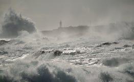 Fundo do mar áspero e do farol Foto de Stock
