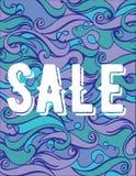 Fundo do mar da onda do desenho da mão da cor do bannerVector da venda do verão Textura abstrata do oceano Foto de Stock