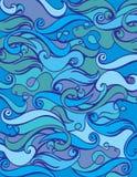 Fundo do mar da onda Textura abstrata do oceano Matéria têxtil com motriz da onda Fotografia de Stock