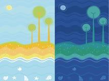 Fundo do mar do dia e da noite Imagens de Stock Royalty Free