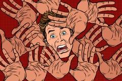 Fundo do medo do horror, mãos e cara amedrontada ilustração do vetor
