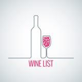 Fundo do menu da lista do vidro de garrafa do vinho Fotografia de Stock Royalty Free
