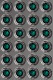 Fundo do metal com as esferas verdes de prata Imagens de Stock