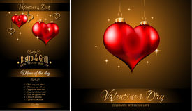 Fundo do molde do menu do restaurante do dia do ` s do Valentim Foto de Stock