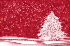 Fundo do Natal Árvore de Natal abstrata no fundo vermelho Copie o espaço, Fotografia de Stock