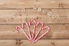 Fundo do Natal Bastões de doces Com amor Fotografia de Stock Royalty Free