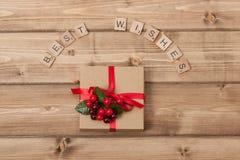 Fundo do Natal Caixa de presente Cumprimentos palavras Foto de Stock Royalty Free