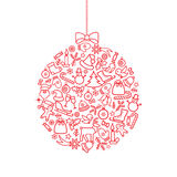 Fundo do Natal Cartão do ícone do feriado do Natal da garatuja ilustração royalty free