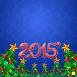 Fundo do Natal com árvore de Natal, 2015 Imagens de Stock Royalty Free