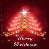 Fundo do Natal com a árvore do x-mas das festões Foto de Stock
