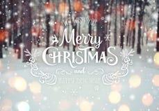 Fundo do Natal com abeto e fundo borrado do inverno com Feliz Natal do texto e ano novo feliz imagens de stock royalty free