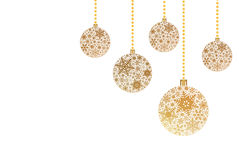 Fundo do Natal com as bolas do Natal com ornamento do floco de neve Foto de Stock