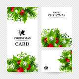 Fundo do Natal com as decorações do abeto e do azevinho Fotografia de Stock