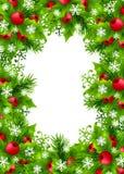 Fundo do Natal com as decorações do abeto e do azevinho Fotos de Stock