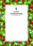 Fundo do Natal com as decorações do abeto e do azevinho Foto de Stock Royalty Free