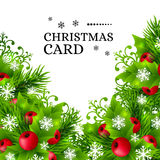 Fundo do Natal com as decorações do abeto e do azevinho Imagem de Stock