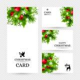 Fundo do Natal com as decorações do abeto e do azevinho Imagens de Stock Royalty Free