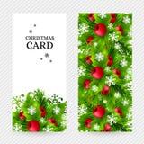 Fundo do Natal com as decorações do abeto e do azevinho Fotografia de Stock Royalty Free