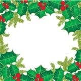 Fundo do Natal com as folhas da baga do azevinho Fotografia de Stock Royalty Free