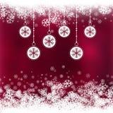 Fundo do Natal com as quinquilharias com projeto do floco de neve ilustração stock