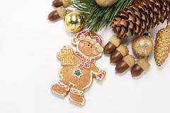 Fundo do Natal com biscoito e os vários ornamento Imagens de Stock