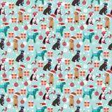 Fundo do Natal com cães, presente, dom-fafe e Natal b Fotografia de Stock