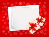 Fundo do Natal com caixas de presente Fotos de Stock Royalty Free