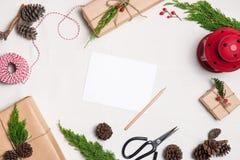 Fundo do Natal com composição do espaço da cópia Fotografia de Stock