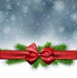 fundo do Natal com curva vermelha Fotografia de Stock Royalty Free