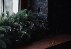 Fundo do Natal com decodation claro Foto de Stock Royalty Free