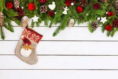 Fundo do Natal com decoração e peúga do Natal Copie o espaço Fotografia de Stock Royalty Free