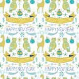 Fundo do Natal com decorações bonitos e as corujas engraçadas, Seaml Fotos de Stock