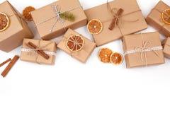 Fundo do Natal com decorações e caixas de presente no branco Imagens de Stock Royalty Free