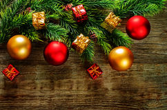 Fundo do Natal com esferas Foto de Stock Royalty Free