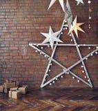 Fundo do Natal com estrelas e presentes Imagens de Stock