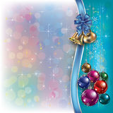 Fundo do Natal com fitas e sinos Foto de Stock Royalty Free
