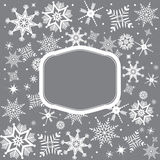 Fundo do Natal com flocos de neve e quadro Fotos de Stock