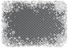 Fundo do Natal com frame dos flocos de neve Fotografia de Stock Royalty Free