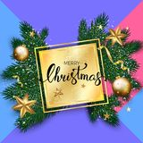 Fundo do Natal com galhos do abeto, bolas do ouro e estrelas Vect Foto de Stock Royalty Free
