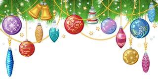 Fundo do Natal com galhos do abeto, brinquedos do Natal e decoração Foto de Stock