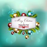 Fundo do Natal com galhos do abeto e decorações das bolas Fotografia de Stock Royalty Free