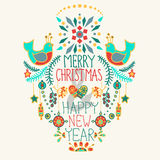 Fundo do Natal com o desenho bonito do ornamento floral e da mão Fotos de Stock Royalty Free