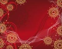 Fundo do Natal com os flocos de neve filigree do ouro ilustração do vetor