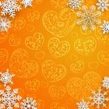 Fundo do Natal com os flocos de neve no fundo dos corações Imagem de Stock