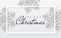 Fundo do Natal com os flocos de neve de prata de brilho e quadro branco Feliz Natal e cartão do ano novo feliz Ilustração do veto ilustração do vetor
