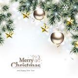 Fundo do Natal com os ornamento de suspensão decorativos ilustração royalty free