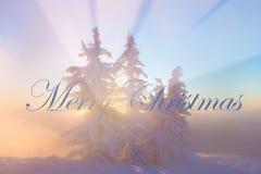 Fundo do Natal com paisagem do inverno nas montanhas durante a luz bonita do nascer do sol do sunrise/ fotos de stock