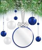 Fundo do Natal com preço, bolas e abeto vermelho Fotos de Stock