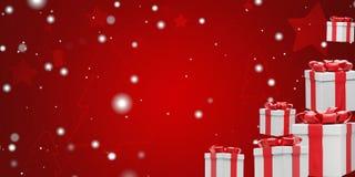 Fundo do Natal com presentes de Natal e flocos de neve 3d-illustration ilustração do vetor