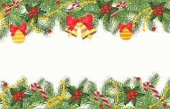 Fundo do Natal com ramos de elementos spruce e decorativos ilustração stock